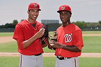 GCL Nationals pitchers Joan Baez (left) and Jose Jimenez (right) pose for a photo after combining to throw a seven inning no-hitter in the first game of a doubleheader against the GCL Marlins.  Baez went six hitless innings, walking one, and striking out seven;  Jimenez closed it out with a hitless inning allowing a walk.  The GCL Nationals defeated the GCL Marlins 4-0.  (Mike Janes/Four Seam Images)
