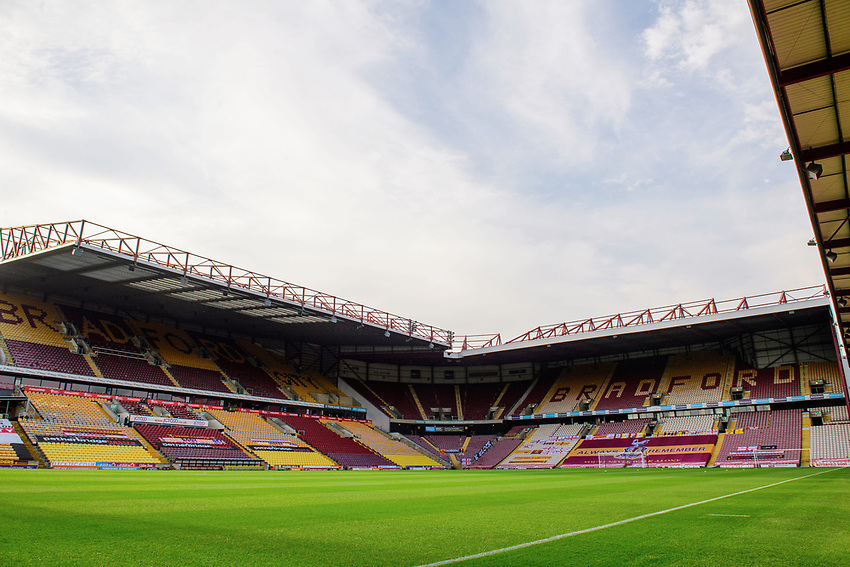 A general view of The Utilita Energy Stadium, commonly known as Valley Parade, home of Bradford City<br /> <br /> Photographer Chris Vaughan/CameraSport<br /> <br /> Carabao Cup Second Round Northern Section - Bradford City v Lincoln City - Tuesday 15th September 2020 - Valley Parade - Bradford<br />  <br /> World Copyright © 2020 CameraSport. All rights reserved. 43 Linden Ave. Countesthorpe. Leicester. England. LE8 5PG - Tel: +44 (0) 116 277 4147 - admin@camerasport.com - www.camerasport.com