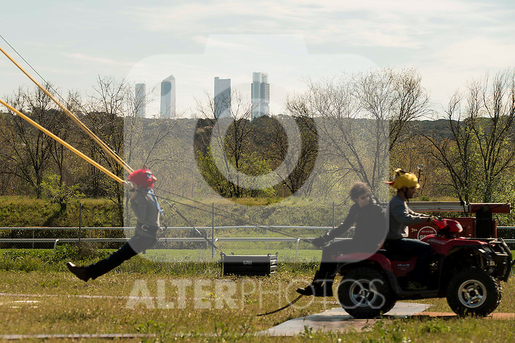 "Human Slingshot with the Four Towers Bussines Area behind during the presentation of the film ""Angry Birds"" at Hipodromo de Zarzuela in Madrid. April 25,2016. (ALTERPHOTOS/Borja B.Hojas) during the presentation of the film ""Angry Birds"" at Hipodromo de Zarzuela in Madrid. April 25,2016. (ALTERPHOTOS/Borja B.Hojas)"