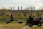 """Human Slingshot with the Four Towers Bussines Area behind during the presentation of the film """"Angry Birds"""" at Hipodromo de Zarzuela in Madrid. April 25,2016. (ALTERPHOTOS/Borja B.Hojas) during the presentation of the film """"Angry Birds"""" at Hipodromo de Zarzuela in Madrid. April 25,2016. (ALTERPHOTOS/Borja B.Hojas)"""