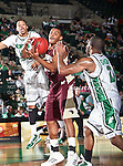University of Louisiana at Monroe Warhawks forward Steven McClellan (23) in action during the NCAA  basketball game between the University of Louisiana at Monroe Warhawks and the University of North Texas Mean Green at the North Texas Coliseum,the Super Pit, in Denton, Texas. ULM defeated UNT 82 to 75...