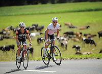 Stage winner Emma Crum (Cyclosport NZ, left) and second-placed Amy Bradley (Wheelworks) in action during the NZCT Women's Cycle Tour of New Zealand Stage 4 at Palmerston North, New Zealand on Saturday, 25 February 2012. Photo: Dave Lintott / lintottphoto.co.nz