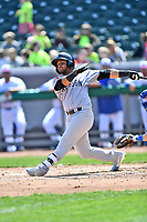 Jackson Generals left fielder Jamie Westbrook (45) swings at a pitch during a game against the Tennessee Smokies at Smokies Stadium on April 11, 2018 in Kodak, Tennessee. The Generals defeated the Smokies 6-4. (Tony Farlow/Four Seam Images)
