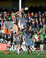 Charlie Matthews of Harlequins and Scott MacLeod of Newcastle Falcons compete in the lineout during the Aviva Premiership match between Harlequins and Newcastle Falcons at the Twickenham Stoop on Saturday 15th February 2014 (Photo by Rob Munro)