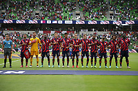 AUSTIN, TX - JULY 29: United States players during the playing of the national anthem during a game between Qatar and USMNT at Q2 Stadium on July 29, 2021 in Austin, Texas.