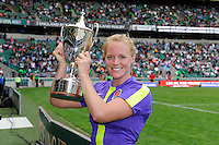 MichaelaStaniford of England celebrates winning the Cup Final during the iRB Marriott London Sevens at Twickenham on Sunday 13th May 2012 (Photo by Rob Munro)