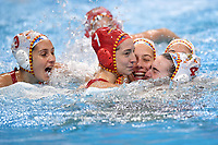 Spain players celebrate the victory <br /> Budapest 25/01/2020 Duna Arena <br /> SPAIN (white caps) Vs. RUSSIA (blue caps) Women <br /> Final 1st - 2nd place <br /> XXXIV LEN European Water Polo Championships 2020<br /> Photo  © Andrea Staccioli / Deepbluemedia / Insidefoto