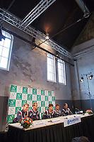 12-09-12, Netherlands, Amsterdam, Tennis, Daviscup Netherlands-Swiss, Press-conference Netherlands, l.t.r.: Captain Jan Siemerink, Thiemo de Bakker, Robin Haase, Jean-Julien Rojer and Igor Sijsling.