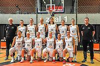 team Belgium , Belgian Cats ( Pierre Cornia assistant coach , Laure Resimont (10) , Emma Meesseman (11) , Ann Wauters (12) , Serena-Lynn Geldof (23) , Billie Massey (34) , Jana Raman (42) , Philip Mestdagh headcoach and Heleen Nauwelaers (32) , Julie Vanloo (35) , Elise Ramette (4) , Hanne Mestdagh (22) , Marjorie Capreaux (9) , Antonia Delaere (6) ) , pictured before a basketball game between the national teams of Belgium , called the Belgian Cats , and Serbia on Friday 28 th of May 2021 in Kortrijk , Belgium . PHOTO SPORTPIX.BE | SPP | STIJN AUDOOREN