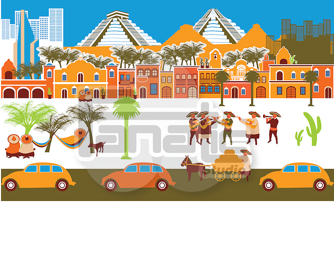 City with montage of landmarks, Yucatan, Mexico