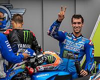 29th August 2021; Silverstone Circuit, Silverstone, Northamptonshire, England; MotoGP British Grand Prix, Race Day; Team Suzuki Ecstar rider Alex Rins celebrates finishing second