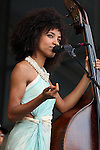 NEW ORLEANS, LA - MAY 03: Musician Esperanza Spalding performs during the 2012 New Orleans Jazz & Heritage Festival at the Fair Grounds Race Course on May 3, 2012 in New Orleans, Louisiana.