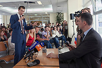 Moscow, Russia, 06/09/2011..A student at the Economics Faculty questions Russian billionaire businessman Mikhail Prokhorov, newly elected leader of pro-business political party Right Cause, during a meeting at the Moscow State University.