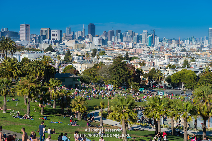 San Francisco skyline from Mission Dolores Park, California, USA