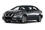 Stock pictures of low aggressive front three quarter view of a 2020 Nissan Versa SV 4 Door Sedan