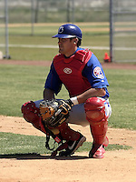 April 1, 2004:  Catcher Luke Montz of the Montreal Expos (Washington Nationals) organization during Spring Training at Osceola County Stadium in Kissimmee, FL.  Photo copyright Mike Janes/Four Seam Images
