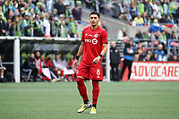 SEATTLE, WA - NOVEMBER 10: Marky Delgado #8 of Toronto FC during a game between Toronto FC and Seattle Sounders FC at CenturyLink Field on November 10, 2019 in Seattle, Washington.
