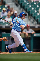 Buffalo Bisons Billy McKinney (11) hits a triple during an International League game against the Lehigh Valley IronPigs on June 9, 2019 at Sahlen Field in Buffalo, New York.  Lehigh Valley defeated Buffalo 7-6 in 11 innings.  (Mike Janes/Four Seam Images)