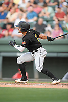 Second baseman Joseph Rosa (2) of the West Virginia Power bats in a game against the Greenville Drive on Friday, May 17, 2019, at Fluor Field at the West End in Greenville, South Carolina. West Virginia won, 10-4. (Tom Priddy/Four Seam Images)