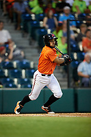 Richmond Flying Squirrels third baseman Ali Castillo (19) follows through on a swing during a game against the Trenton Thunder on May 11, 2018 at The Diamond in Richmond, Virginia.  Richmond defeated Trenton 6-1.  (Mike Janes/Four Seam Images)
