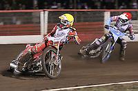 Heat 5: Andreas Jonsson (yellow) and Kauko Nieminen (red) - Lee Richardson Memorial Speedway Meeting at Arena Essex Raceway, Purfleet - 28/09/12 - MANDATORY CREDIT: Gavin Ellis/TGSPHOTO - Self billing applies where appropriate - 0845 094 6026 - contact@tgsphoto.co.uk - NO UNPAID USE.