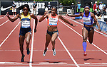 English Fardner of the USA (C) crosses the finish line to win the Women's 100 meters, B section, on the final day of the Prefontaine Classic at Hayward Field in Eugene, Oregon, USA, 30 MAY 2015. (EPA photo by Steve Dykes)