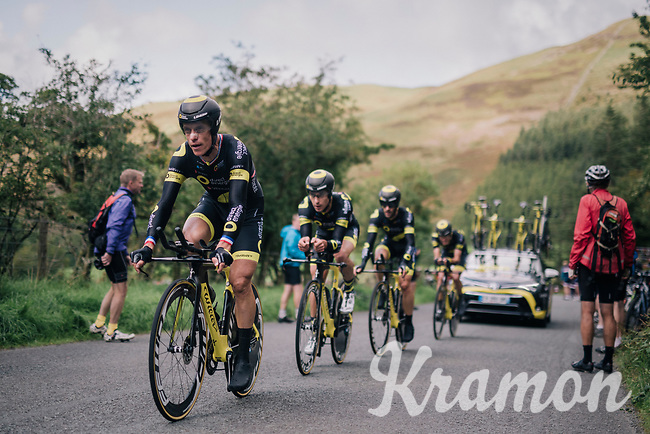 """""""La Machine"""" Sylvain Chavanel (FRA/Direct Energie) leading the pack<br /> <br /> Time Trial through the magnificent Lake District National Park in Cumbria<br /> <br /> Stage 5 (TTT): Cockermouth to Whinlatter Pass (14km)<br /> 15th Ovo Energy Tour of Britain 2018"""