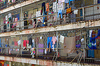 Clothes drying from the security bars at El Buen Pastor women's prison. Built in the 1950s for 1,275 inmates, in August 2015, it housed 1,785 prisoners and a number of their children.