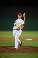 Auburn Doubledays relief pitcher Gabe Klobosits (31) delivers a pitch during a game against the Connecticut Tigers on August 10, 2017 at Falcon Park in Auburn, New York.  Connecticut defeated Auburn 4-1.  (Mike Janes/Four Seam Images)