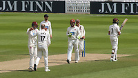 Jack Leach of Somerset celebrates taking the wicket of Surrey batsman, Hashim Amla during Surrey CCC vs Somerset CCC, LV Insurance County Championship Group 2 Cricket at the Kia Oval on 13th July 2021