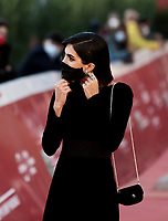 """Spanish actress Rocio Munoz Morales  wearing a face mask poses on the red carpet for the screening of the film """"Calabria, terra mia"""" during the 15th Rome Film Festival (Festa del Cinema di Roma) at the Auditorium Parco della Musica in Rome on October 20, 2020.<br /> UPDATE IMAGES PRESS/Isabella Bonotto"""
