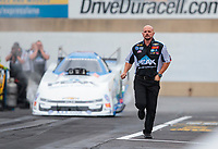 Sep 13, 2019; Mohnton, PA, USA; Crew member for NHRA funny car driver John Force during the Reading Nationals at Maple Grove Raceway. Mandatory Credit: Mark J. Rebilas-USA TODAY Sports