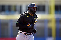 Pittsburgh Pirates Anthony Alford (6) rounds the bases after hitting a home run during a Major League Spring Training game against the Toronto Blue Jays on March 1, 2021 at TD Ballpark in Dunedin, Florida.  (Mike Janes/Four Seam Images)