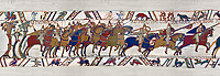 11th Century Medieval Bayeux Tapestry - Scene 48 - The Normans from up into battle formation. Battle of Hastings 1066.