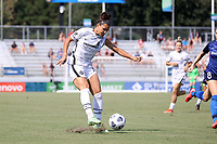 CARY, NC - SEPTEMBER 12: Sophia Smith #9 of the Portland Thorns FC takes a shot during a game between Portland Thorns FC and North Carolina Courage at Sahlen's Stadium at WakeMed Soccer Park on September 12, 2021 in Cary, North Carolina.