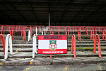 Wrexham 2 Ebbsfleet United 0, 18/11/2017. The Racecourse Ground, National League. A Wrexham fan banner in the disused Kop End. Photo by Paul Thompson.