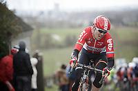 Pim Ligthart (NLD/Lotto-Soudal) on top of the Paterberg<br /> <br /> 71st Dwars door Vlaanderen (1.HC)