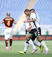 Calcio, Serie A: Roma vs Sassuolo. Roma, stadio Olimpico, 20 settembre 2015.<br /> Sassuolo's Gregoire Defrel celebrates after scoring during the Italian Serie A football match between Roma and Sassuolo at Rome's Olympic stadium, 20 September 2015.<br /> UPDATE IMAGES PRESS/Isabella Bonotto