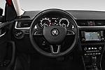 Car pictures of steering wheel view of a 2018 Skoda Rapid Spaceback Ambition 5 Door Hatchback