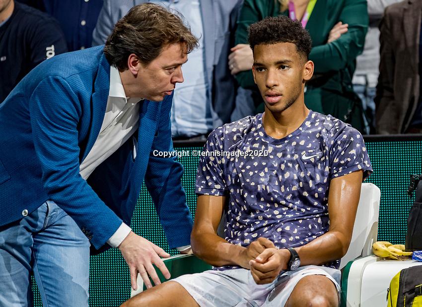 Rotterdam, The Netherlands, 16 Februari 2020, ABNAMRO World Tennis Tournament, Ahoy,<br /> Mens Single Final: runner up Felix Auger-Aliassime (CAN) and Dimitri Bonthuis<br /> Photo: www.tennisimages.com