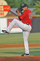 Elizabethton Twins starting pitcher Ricardo Arevalo #50 delivers a pitch during a game against the Bristol White Sox at Joe O'Brien Field on June 25, 2012 in Elizabethton, Tennessee. The Twins defeated the White Sox 9-1. (Tony Farlow/Four Seam Images).