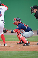 Salem Red Sox catcher Austin Rei (28) during the first game of a doubleheader against the Potomac Nationals on May 13, 2017 at G. Richard Pfitzner Stadium in Woodbridge, Virginia.  Potomac defeated Salem 6-0.  (Mike Janes/Four Seam Images)