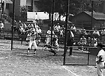 Ford City PA:  Bethel Park vs Arnold to advance to the state American Legion Playoffs. Skip Uhl swinging and hitting during the game with Bobby Campbell on deck.  Bob Purkey pitched a shut out (1-0) and the team advanced to the state playoffs in Allentown PA.  Bobby Campbell on deck. Others in the photo; Bob Purkey Jr, Mike Stewart, and Gary Biro.