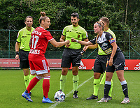 Captain Maud Coutereels (17) of Standard gives a fist bump to captain Chloe Van Mingeroet (17) of Eendracht Aalst after the coin toss before a female soccer game between Standard Femina de Liege and Eendracht Aalst dames on the fourth matchday in the 2021 - 2022 season of the Belgian Scooore Womens Super League , Saturday 11 th of September 2021  in Angleur , Belgium . PHOTO SPORTPIX   BERNARD GILLET