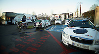 Paris-Roubaix 2012 ..Team Lotto-Belisol carpark for Roubaix