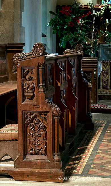 Detail of the choir stalls of St Lawrence Church, Tubney, Oxfordshire, UK. This is the only Protestant church designed by Augustus Pugin. The interior fittings were designed by him and remain unchanged since its consecration in 1847.