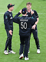 20th March 2021; Dunedin, New Zealand;  Matt Henry celebrates with Jimmy Neesham wearing Jimmy Neesham's shirt during the New Zealand Black Caps v Bangladesh International one day cricket match. University Oval, Dunedin.