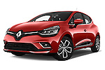 Stock pictures of low aggressive front three quarter view of 2017 Renault Clio Intens 5 Door Hatchback Low Aggressive