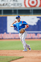 South Bend Cubs shortstop Rafael Narea (2) throws to first base during the first game of a doubleheader against the Lake County Captains on May 16, 2018 at Classic Park in Eastlake, Ohio.  South Bend defeated Lake County 6-4 in twelve innings.  (Mike Janes/Four Seam Images)
