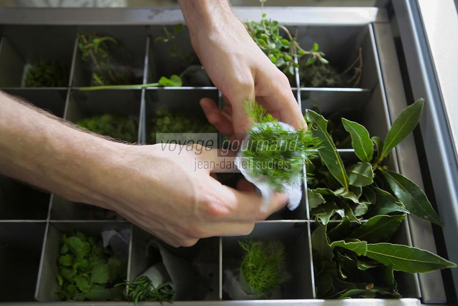 """Europe/France/Rhone-Alpes/73/Savoie/St-Marcel: Hotel-restaurant """"La Bouitte"""" - En cuisine les herbes aromatiques"""